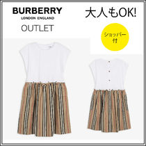 送関込【BURBERRY】Ramona cotton striped dress 3-14歳