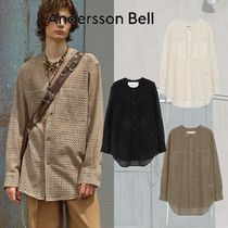 ANDERSSON BELL - COLLARLESS EMBROIDERY COTTON SHIRTS(3color)