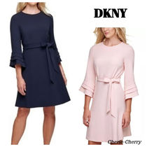 DKNY(ディーケーエヌワイ) ワンピース 【DKNY】新作★Belted Fluted-Sleeve Dress ワンピース