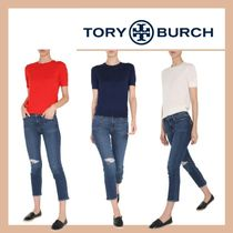 """【TORY BURCH】CASHMERE """"IBERIA"""" SWEATER WITH SHORT SLEEVES"""