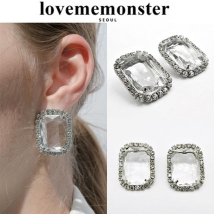 ★人氣★LOVE ME MONSTER★Big Rectangular Cubic Earrings