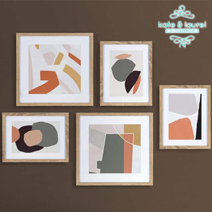 【Kate and Laurel】Mid-Century Modern アート 5pc Natural