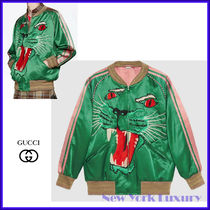 Gucci★素敵!Green Duchesse Satin PANTHER Face Bomber Jacket