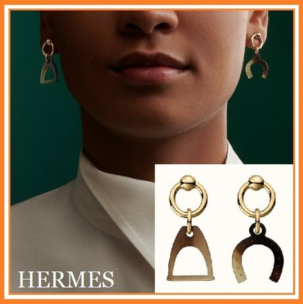 【HERMES】エルメス/Amulette Equestre earrings/天然素材ピアス