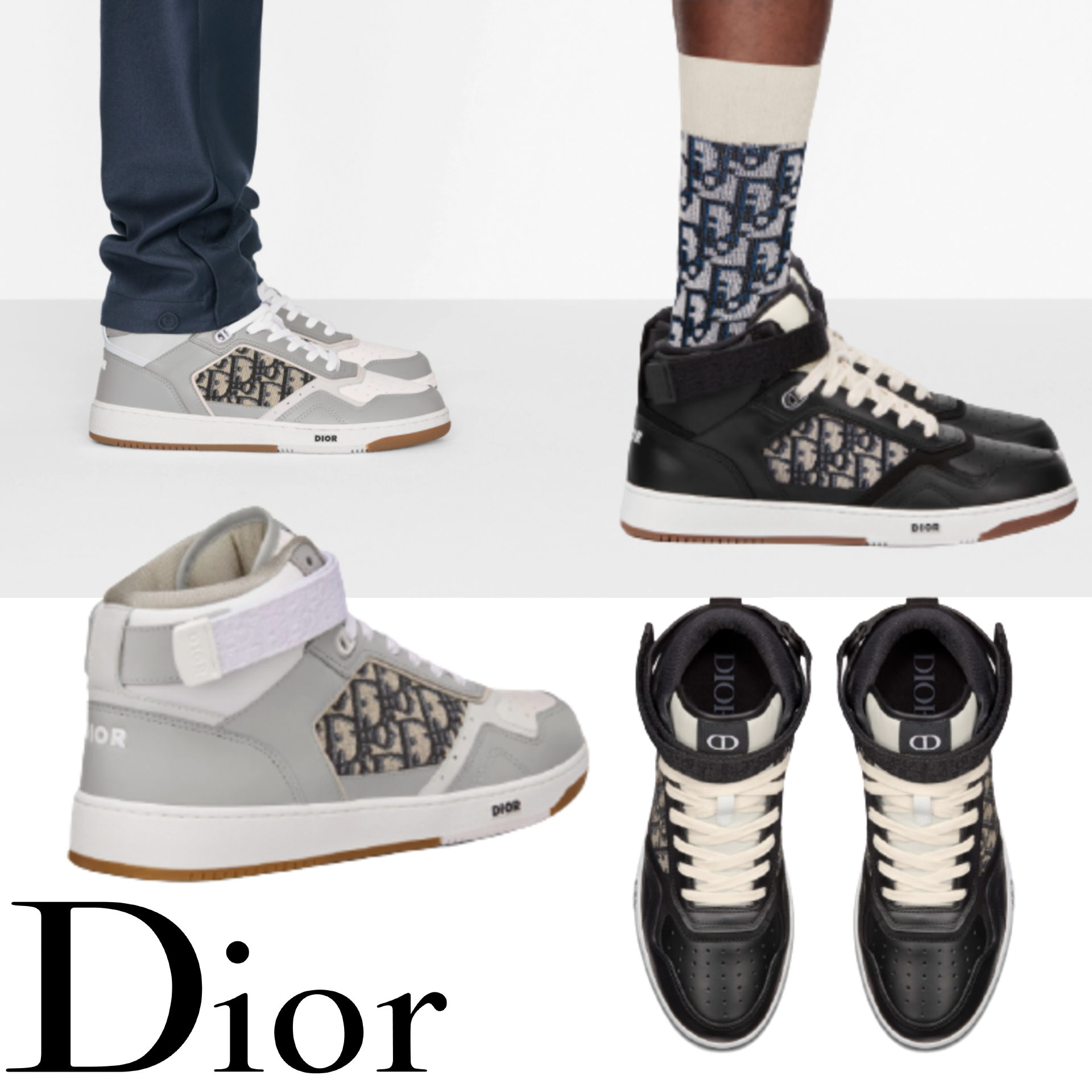 ◆NEW IN◆ DIOR B27 ハイトップ スニーカー 白 黒 シューズ (Dior/スニーカー) 3SH132ZIR_H165  3SH132ZIR_H965