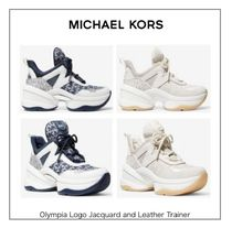 【MICHAEL KORS】Olympia Logo Jacquard and Leather Trainer☆