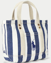 ●Polo Ralph Lauren Striped Canvas Small Tote ミニトート●
