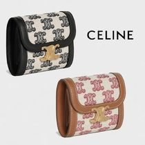 CELINE - SMALL TRIOMPHE WALLET IN TEXTILE WITH TRIOMPHE EMBR