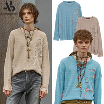 ★ANDERSSON BELL★LINEN EMBROIDERY FACE CREWNECK SWEATER