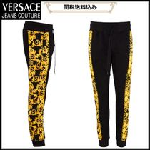 VERSACE JEANS COUTURE ★バロック柄 ブラックジョギングパンツ
