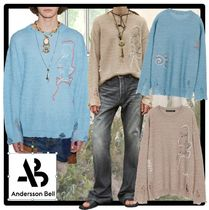★ANDERSSON BELL★LINEN EMBROIDERY FACE CREWNECK SWEATE.R★