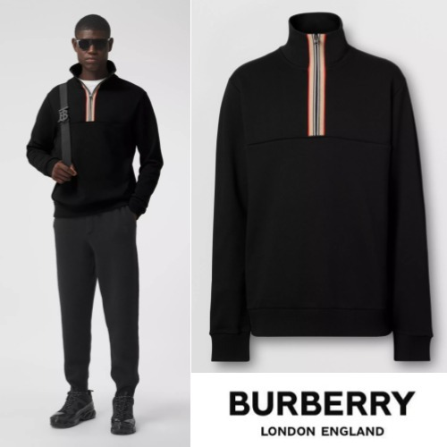 BURBERRY Icon Stripe Detail Cotton Funnel Neck Top (Burberry/トップスその他) 65412462
