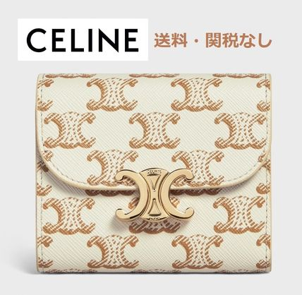 【CELINE】SMALL TRIOMPHE WALLET ホワイト TRIOMPHE CANVAS
