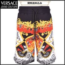 VERSACE JEANS COUTURE ペイズリー柄 ショートハーフパンツ 黒