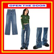 [OPEN THE DOOR] grunge damage denim pants / 追跡付