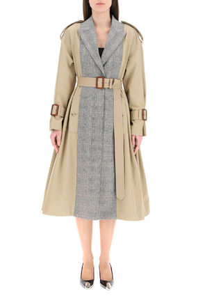 ALEXANDER MCQUEEN○TRENCH COAT WITH PRINCE OF WALES PANELS