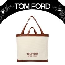 【TOM FORD】Leather inserts canvas shopping bag