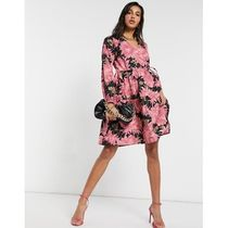 Y.A.S wrap dress in pink and black floral