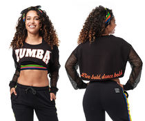 新作♪Zumbaズンバ Zumba Long Sleeve Crop Top - Bold Black