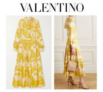 VALENTINO Pussy-bow pleated printed silk-georgette dress