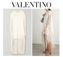 VALENTINO Fringed leather-trimmed wool & cashmere poncho