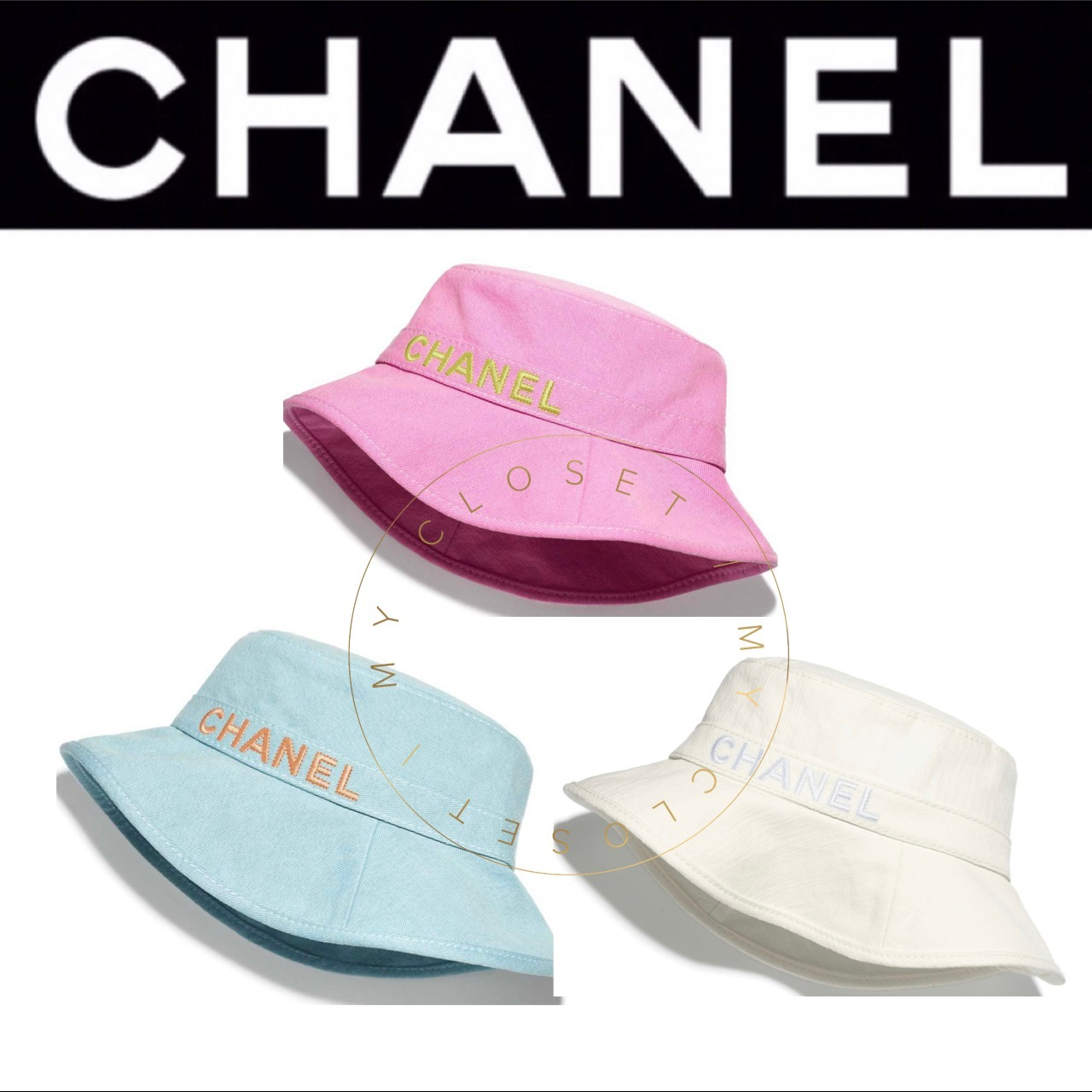 CHANEL 帽子 ハット ロゴ  限定 青 コットン ピンク 直営店 (CHANEL/ハット) 65684962