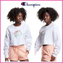 NEW!  ★CHAMPION★ Cropped Cut-Off Crew, C Logo With Florals
