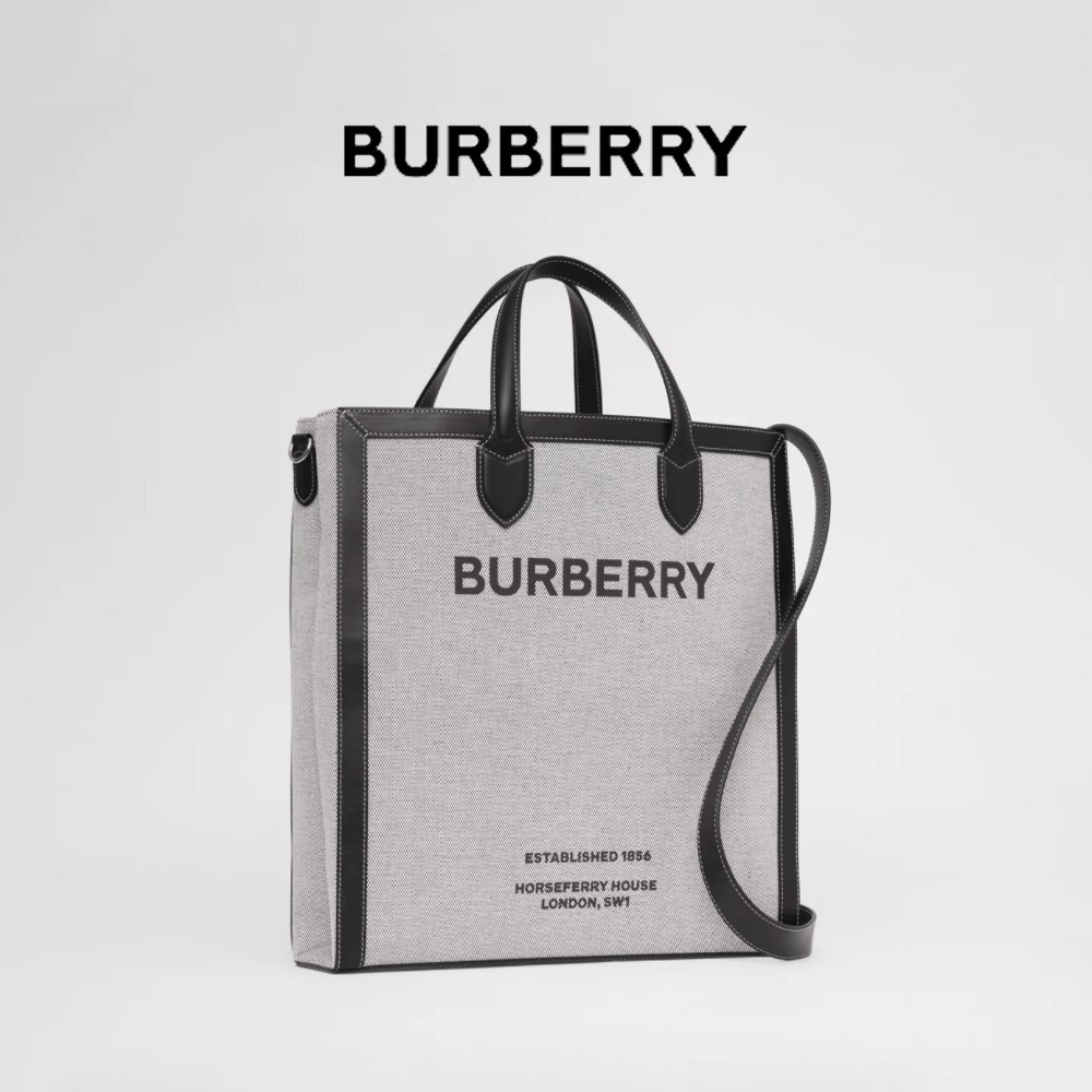 BURBERRY - Horseferry Print Canvas and Leather Tote BLACK (Burberry/トートバッグ) 80379361