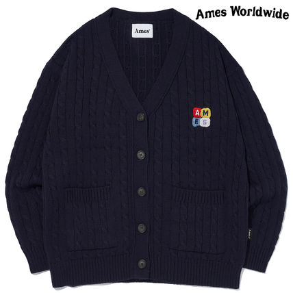 ★AMES-WORLDWIDE★BOX LOGO OVERFIT CARDIGAN_NV★正規品/人気