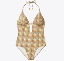 ● Tory Burch PRINTED RING ONE-PIECE SWIMSUIT ワンピース水着
