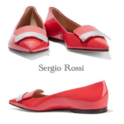 SALE♪Sergio Rossi patent-leather point-toe flats フラット