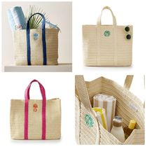 Pottery Barn(ポッタリーバーン) かごバッグ 名入れOK☆Pottery Barn OVERSIZED STRAW BEACH TOTE かごバッグ
