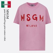 Msgm paint brushed logo print cotton t-shirt