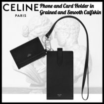 CELINE☆PHONE AND CARD HOLDER IN GRAINED AND SMOOTH CALFSKIN