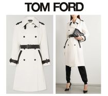 TOM FORD Two-tone leather-trimmed canvas trench coat