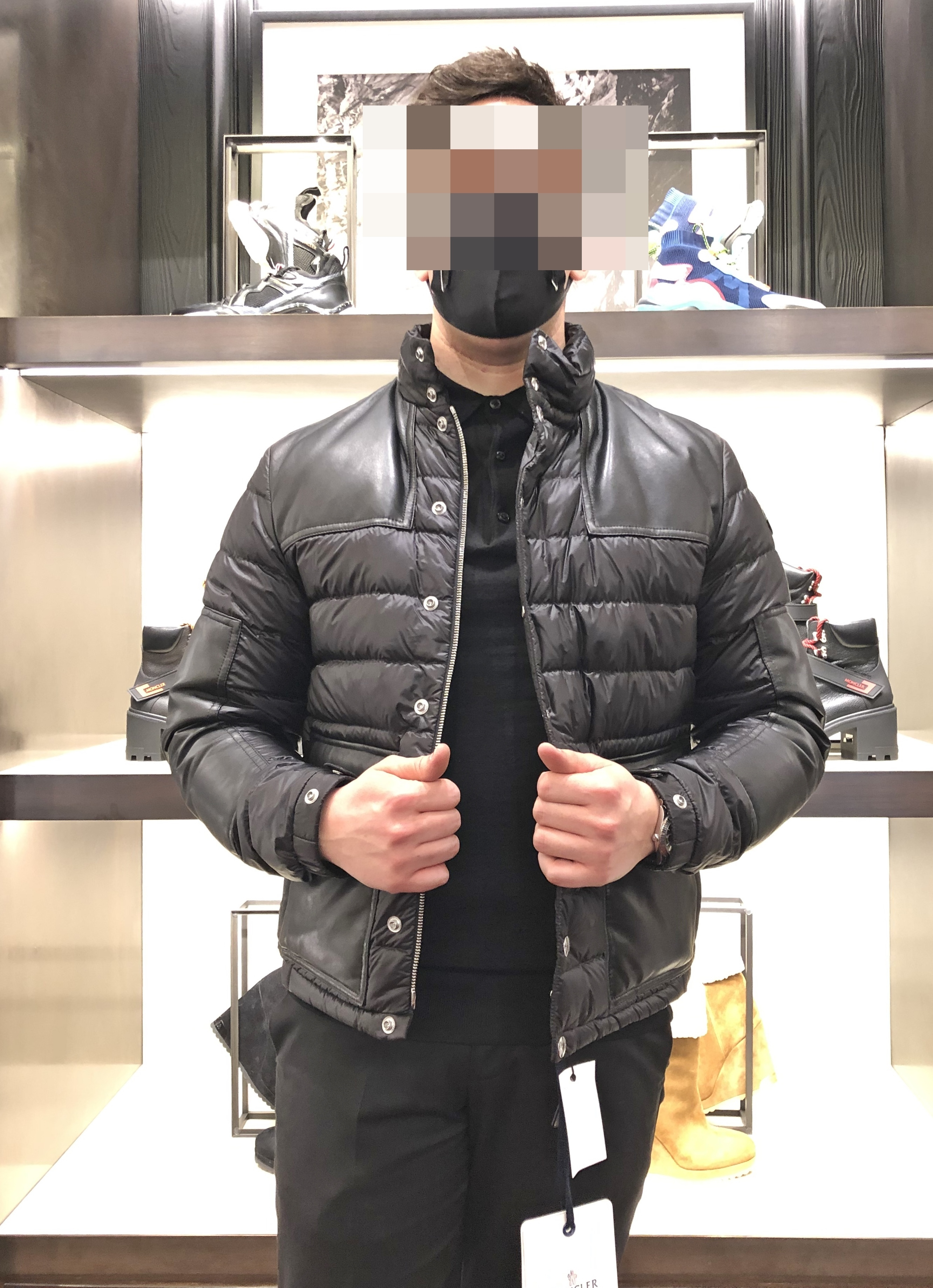 MONCLER★21SS レザー&ナイロン異素材MIXダウンBOUTMY★関税込み (MONCLER/ダウンジャケット) 65823001