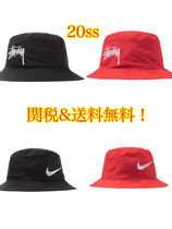 20SS 国内発送 Nike x Stussy Bucket Hat Red Black  バケット