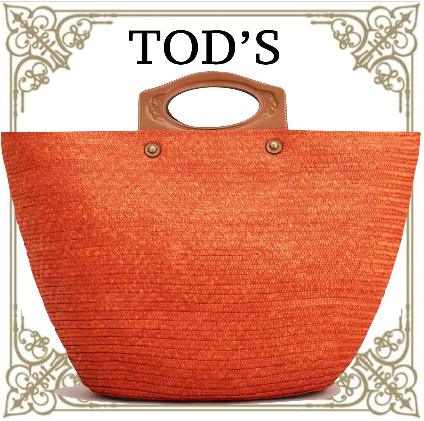 TOD'S STRAW AND LEATHER BAG LARGE 直営店買付 関税込み (TOD'S/かごバッグ) 65842098