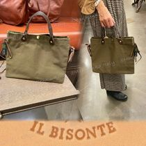 SALE【IL BISONTE】トート バッグ/レザー&キャンバス*リボン*