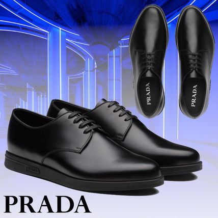 PRADA【直営店】新作 Brushed leather derby lace-up shoes