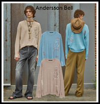【ANDERSSON BELL】UNISEX LINEN EMBROIDERY FACE CREWNECK