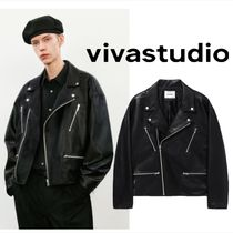 韓国【vivastudio】VEGAN LEATHER OVER FIT RIDERS