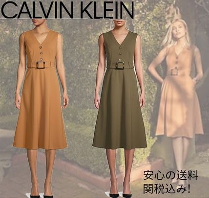 【Calvin Klein】セール!A-Line Buttoned Day Dressワンピース