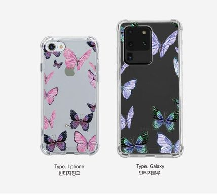 iPhone・スマホケース Mademoment☆韓国☆Vintage Butterfly Frame Tank Clear Case(2)