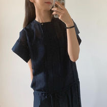 21SS ☆ [LOW CLASSIC]/PLEATED DRESS / NAVY