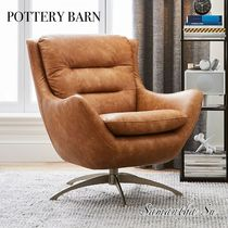 新作【PotteryBarn】Vegan Leather Caramel Lennon Lounge Chair