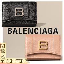 【BALENCIAGA】Hour mini wallet in grained leather with logo