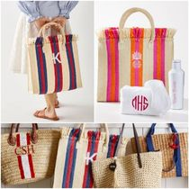 Pottery Barn(ポッタリーバーン) かごバッグ 名入れOK☆Pottery Barn FRINGE TOP TOTE かごバッグ