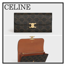 CELINE☆ロゴマーク Large Triomphe Canvas Triomphe Wallet Tan