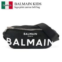 Balmain Kids logo print canvas belt bag